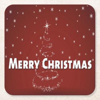 Christmas Tree Snowflakes Square Paper Coaster