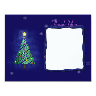 "Christmas Tree & Snowflakes Thank You Note 4.25"" X 5.5"" Invitation Card"