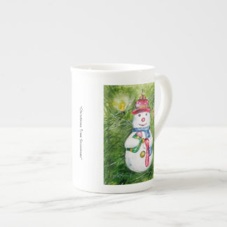 Christmas Tree Snowman Bone China Mug