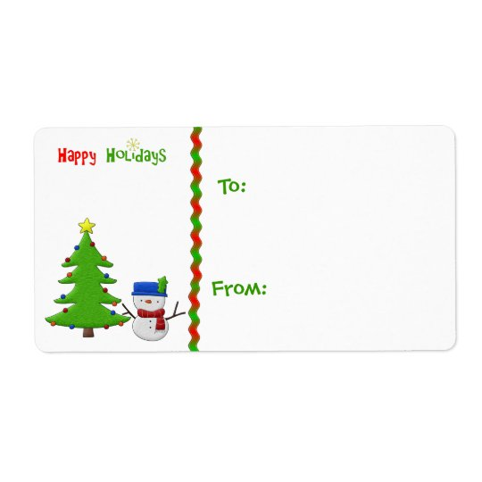 Christmas Tree, Snowman, Gift Tag