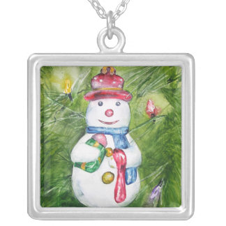 Christmas Tree Snowman Necklace