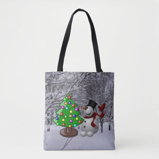 Christmas Tree, Snowman, Snow Scene All-Over Print Tote