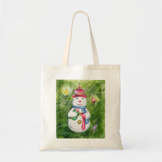 Christmas Tree Snowman Tote Bag