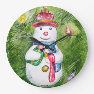 Christmas Tree Snowman Wall Clock