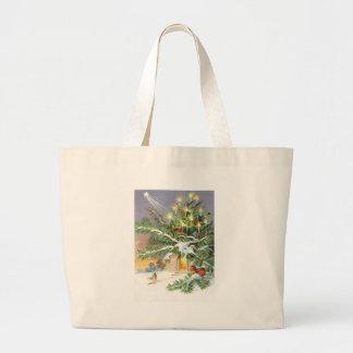 Christmas Tree Songbird Evergreen Church Jumbo Tote Bag