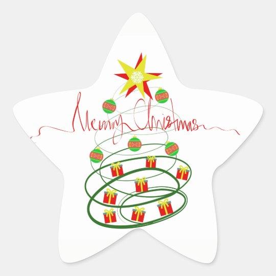 Christmas tree star sticker