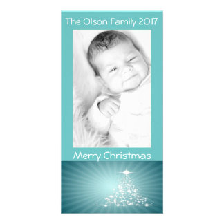 Christmas Tree Stars Teal Background Personalise Card