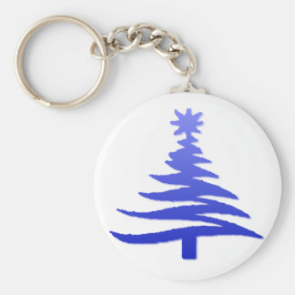 Christmas Tree Stencil Cobalt Blue Basic Round Button Key Ring