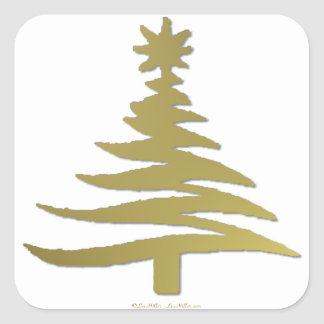 Christmas Tree Stencil Gold Square Sticker
