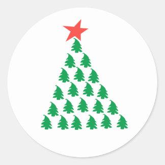 Christmas tree round sticker