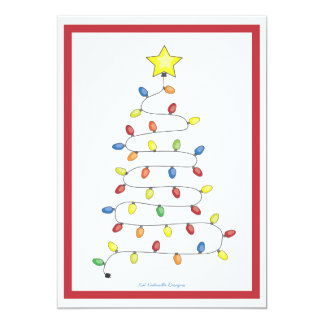 Christmas Tree String of Lights Holiday Party Card