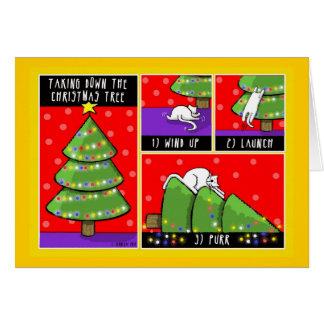 Christmas Tree Take Down, Cat Greeting Card