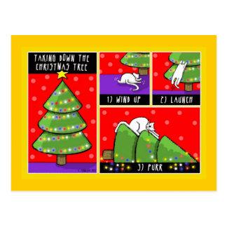 Christmas Tree Take Down, Cat Postcard