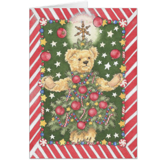 Christmas Tree Teddy Bear Juggler Card