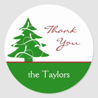 Christmas Tree Thank You Gift Tags Round Sticker