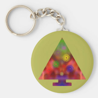 Christmas Tree - Triangle decorated Basic Round Button Key Ring
