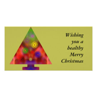 Christmas Tree - Triangle decorated Photo Card Template