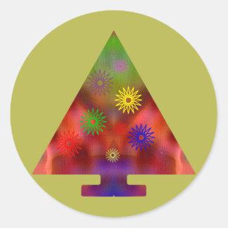 Christmas Tree - Triangle decorated Round Sticker