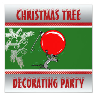 Christmas Tree Trimming Party | Holiday Red Green Card