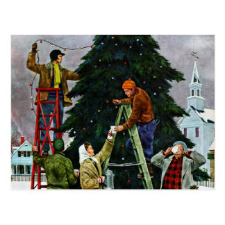 Christmas Tree Trimming Postcard