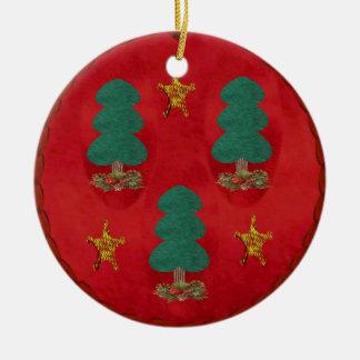 Christmas Tree Trinity Round Ceramic Decoration