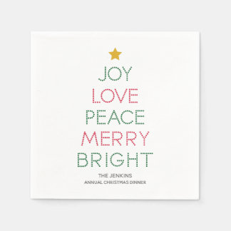 Christmas Tree Typography Christmas Napkin Disposable Serviettes