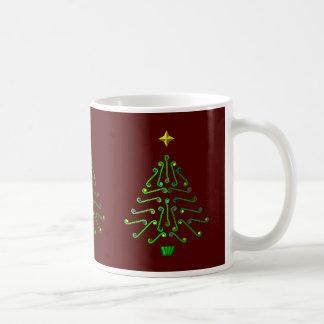 Christmas tree, unusual pixel art design basic white mug