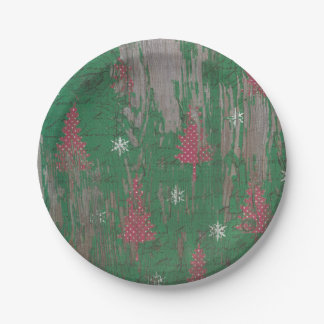 christmas tree vintage antique rustic paper plates
