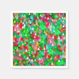 Christmas Tree Watercolor Pattern Disposable Napkin