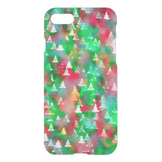 Christmas Tree Watercolor Pattern iPhone Case