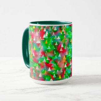 Christmas Tree Watercolor Pattern Mug