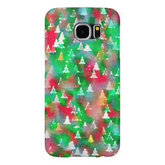 Christmas Tree Watercolor Pattern Samsung Galaxy S6 Cases