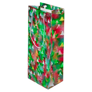 Christmas Tree Watercolor Pattern Wine Gift Bag