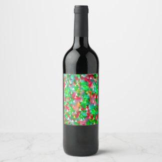 Christmas Tree Watercolor Pattern Wine Label
