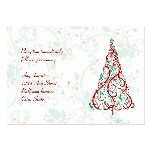 Christmas Tree Wedding Reception Card Business Card