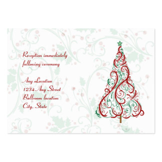 Christmas Tree Wedding Reception Card Pack Of Chubby Business Cards