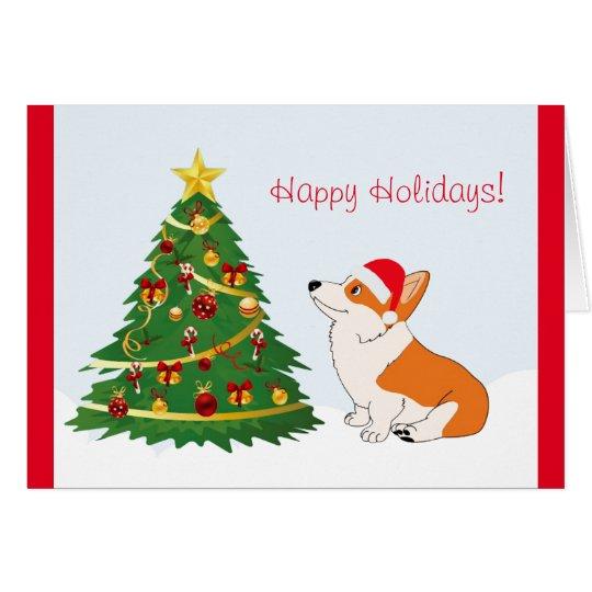 Christmas Tree Welsh Corgi Cartoon Card