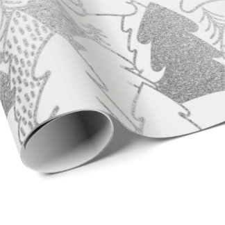 Christmas Tree White Snow Silver Gray Glitter Wood Wrapping Paper