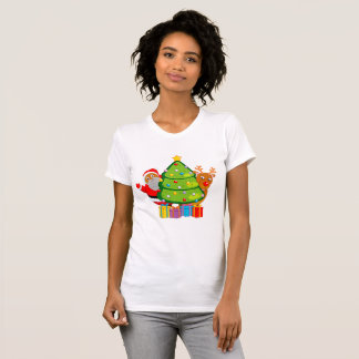 Christmas tree with a black Santa Claus & Rudolph, T-Shirt