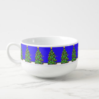 Christmas tree with bulb dots on blue. XMAS13 Soup Mug
