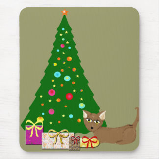 Christmas Tree with cat Mouse Pad