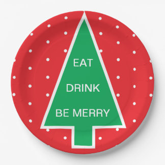 CHRISTMAS TREE WITH CUSTOMIZABLE TEXT PAPER PLATE