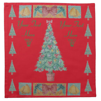 Christmas tree with decorations red bows bells art napkin