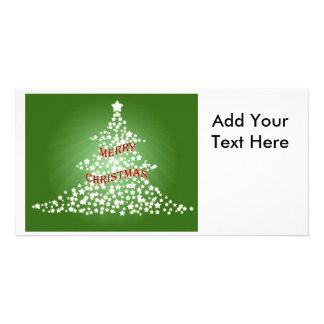 Christmas Tree with Glowing Stars Photo Greeting Card