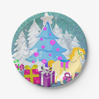 Christmas Tree With Horse and Gifts  FAUX Glitter Paper Plate
