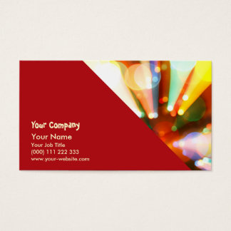 Christmas tree with light beams business card