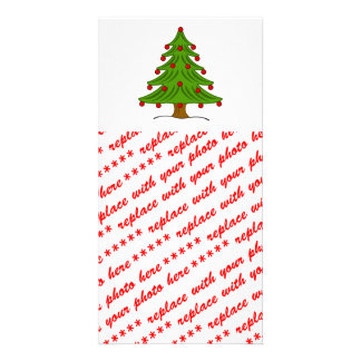 Christmas Tree with Red Ornaments Photo Greeting Card