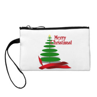 Christmas Tree with Red Ribbon Coin Purses