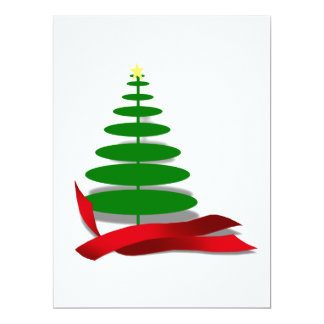 Christmas Tree with Red Ribbon Invite