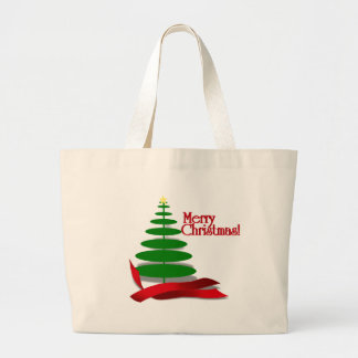 Christmas Tree with Red Ribbon Large Tote Bag